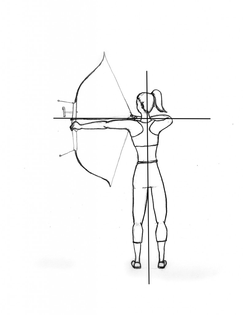 Woman drawing a bow.