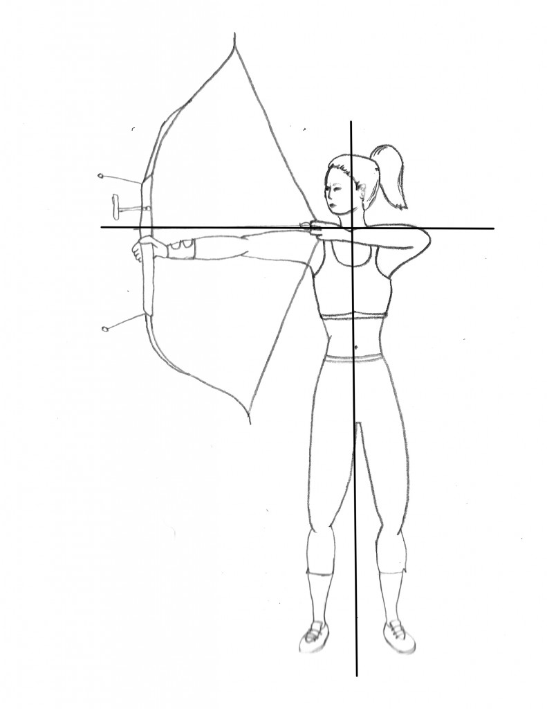 Woman draws a bow