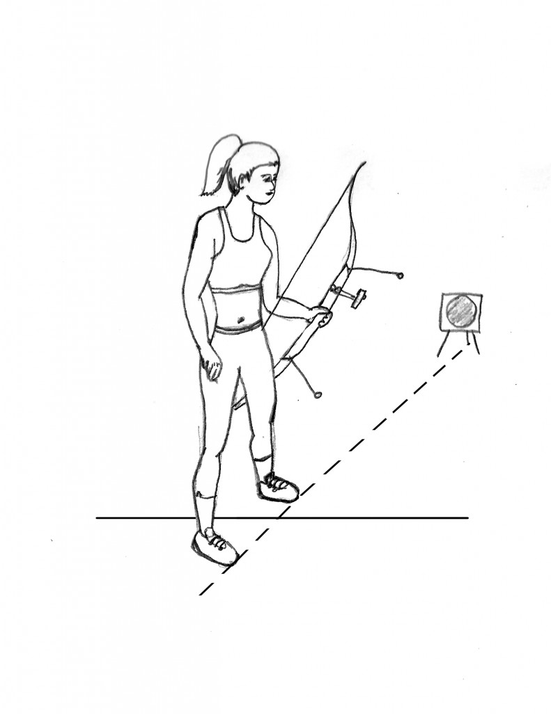 A girl standing a the shooting line