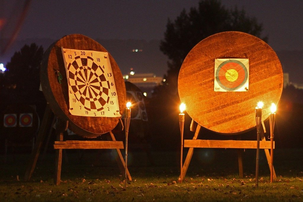 2 archery targets with backstops